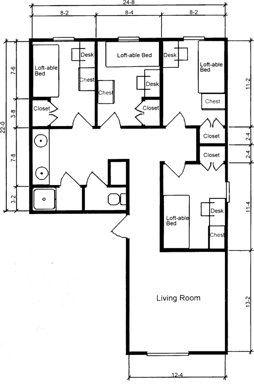 Gillespie hall residence hall Room layout