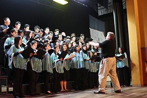 Chris Shelt directing choir